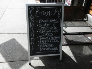 Sign in front of Permanent Brunch in SoHo, NYC